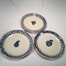 Tienshan FOLKCRAFT FRUITS (3) Stoneware Dinner Plates ~ Blue Spongeware