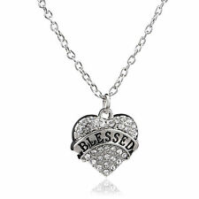 BLESSED SILVER NECKLACE WITH SHINY STUDDED CLEAR CRYSTAL HEART PENDANT #KC37