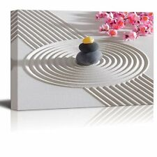 "Canvas Prints Wall Art - Japanese Zen Garden with Stacked Stones - 16"" x 24"""