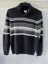 Levi's Shawl Collar Pullover Sweater-Cotton Blend-Navy w/ Stripes-Small -NWT $78