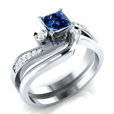 Cerified 2.81Ct Blue Princess Cut Diamond Engagement 14K White Gold Bridal Ring