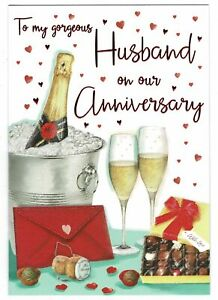 Husband Wedding Anniversary Card 'To My Gorgeous Husband On Our Anniversary'