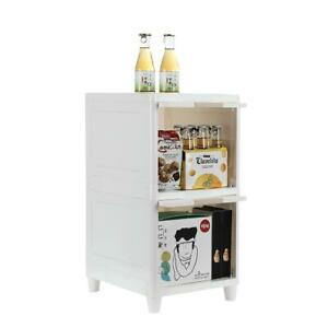 Plastic 4 Drawers 2-Tier Storage Boxes Cabinet Organizer Unit for Bath Bedroom
