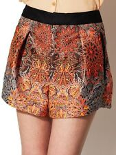 HELMUT LANG Medallion Jacquard Shorts in Fluorescent Orange Size 4