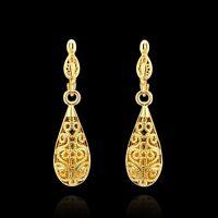 18k Yellow Gold Plated Water Drop Earrings Women Fashion Jewelry ***UK Seller