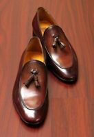 Mens Handmade Shoes Chocolate Brown Tassel Moccasins Slip On Leather Formal Boot