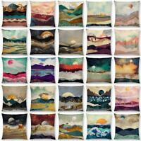 "Cotton Linen 18/"" Sun Hill Pillow Case Cushion Cover Waist Cover Home Decor"