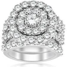 Enorme diamante de 5.00 Quilates Almofada De Noivado anel de Noivado Trio Halo Conjunto De Ouro Branco