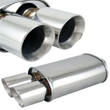 Polished Spun-locked Exhaust Oval Muffler Double Wall Dual Slant Tip for Chevy