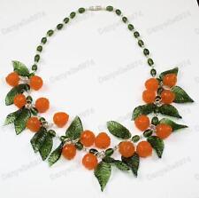 ORANGES fruit&leaves OLIVE murano GLASS BEAD NECKLACE vintage beads ORANGE&LEAF