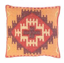 """Indian 18"""" Hand Woven Kilim Rug Cushion Cover Vintage Jute Cushion Pillow Throw"""