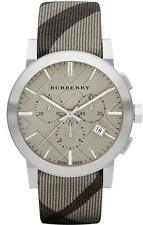 Burberry BU9358 42mm Stainless Steel Case Gray Leather Strap
