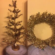 New Bethany Lowe Holiday Foil Wreath & Tree Set Primitive Gold Beaded Vintage