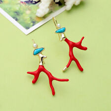 Red Enamel Coral Antlers Branch Acrylic Resin Drop Earrings Girl Fashion Jewelry