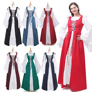 Vintage Women Renaissance Dress Medieval Gown Wench Chemise Cosplay Costume