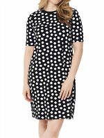 ISAAC MIZRAHI LIVE! Size S Choice of Print Elbow Sleeve T-Shirt Dress BLACK DOT