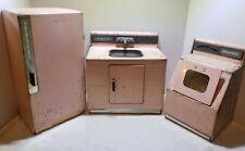 NASSAU VINTAGE TIN LITHO KITCHEN SET SINK WASHER MACHINE & REFRIGERATOR ANTIQUE