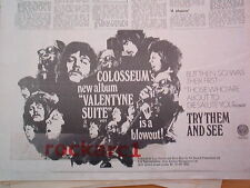 COLOSSEUM Valentine Suite 1970 UK Press ADVERT 12x8 inches - Vertigo label