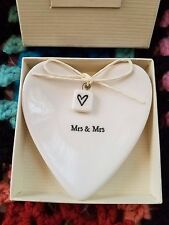 East of India Mr & Mrs Heart-Shaped Ring Dish in Gift Box Porcelain Wedding