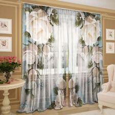 2er Set Gardinen transparent Foto Vorhänge 3D - Schönheit, Chiffon, 145 х 270 cm