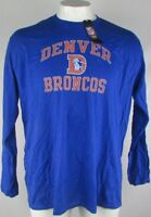 Denver Broncos Men's Fanatics Long Sleeve Screen Print Blue Shirt NFL 3XL 4XL