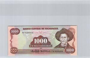 Nicaragua 1000 Cordobas 1985 N° Fa 6364656 Pick 156a