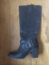 Next Knee High Heeled Black Double Buckle Detail Boots