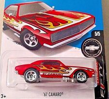 HOT WHEELS '17 CAMARO FIFTY 5/5 RED WITH FLAMES '67 CHEVROLET CAMARO N CASE NEW!