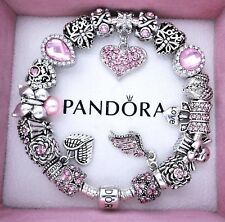 Authentic Pandora Bracelet Silver with ANGEL LOVE PINK European Charms