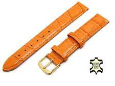 16 mm Uhrenarmband APRIKOSE Leder KROKO-PRÄGUNG glänzend Vergoldete Schließe