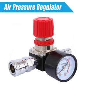 "Air Pressure Regulator for Air Compressor System 1/4"" with Pressure Gauge"