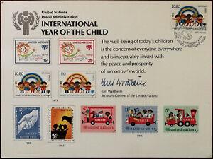 Un Postal Administration International Année Du Enfant Souvenir Carte 1979