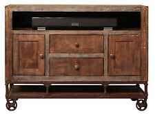 Industrial Rustic Reclaimed wood 52 inch wide TV stand Media Console on wheels