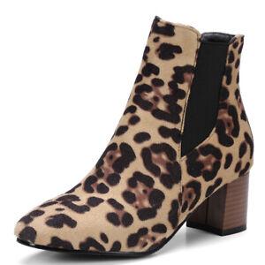 Chelsea Ankle Boots For Women Zipper Flats Heel Winter Booties US 6 Leopard