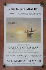 Affiche ancienne Exposition peinture Jean-Jacques Mialhe Marine Galerie Nançay