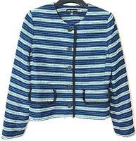 Designer Karl Lagerfeld Paris Blue Stripes Blazer Button Front Jacket Size 4