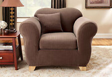 Sure Fit Chair Slipcover Stretch Pinstripe Separate Seat Box Cushion Chocolate