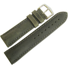 22mm Hirsch Heritage 1765 Anthracite Grey Green Leather Mens Watch Band Strap