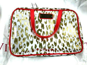 Victoria's Secret Travel Tote Bag Weekender Cosmetic Carrier Gold/White Leopard