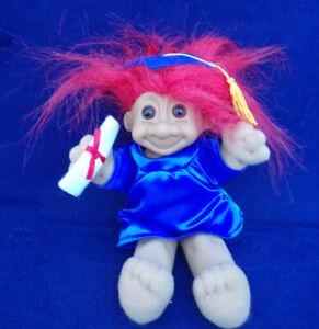 "Vintage 7"" Russ Red Hair Grad Graduate Soft Body Plush Troll Doll #3599"