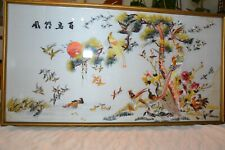 Old  Chinese silk embroidered,100 birds adore the Phoenix