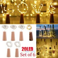 6X 20 LED Wine Bottle Cork Shape Lights Night Fairy String Light Lamp Decor 6ft.