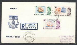 BAHAMAS NASSAU 25.MAY.1967 $ 1.-/ $2.-/ $ 3.- REGISTERED FDC to TRINIDAD   Dv697