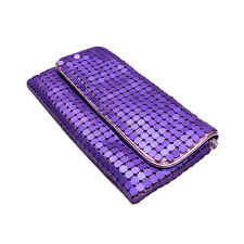 Chic Lightweight Metal Mesh Flap Clutch Evening Bag - Diff Colors Avail