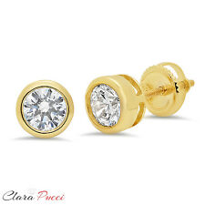 1 ct Solitaire Bezel Set Stud Earrings Round Cut Real 14k Yellow Gold Screw Back