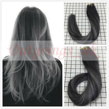 Remy Virgin Ombre Black Grey Skin Weft Seamless Tape in Human Hair Extensions
