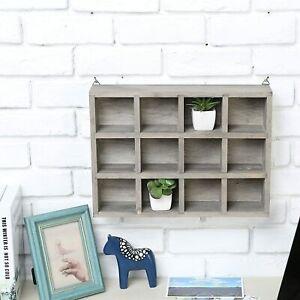 Dark Gray Wood Freestanding/Wall Mounted Shadow Box, Display Shelf Shelving Unit