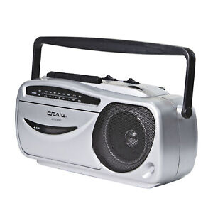 Craig CD6911 Portable Cassette Player/Recorder with AM/FM Radio in Silver/Black
