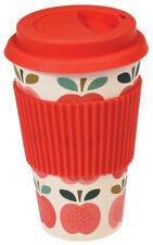 ECO FRIENDLY BAMBOO Vintage Apple Design Reusable Travel Coffee Tea Mug Cup
