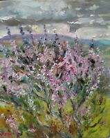 ORIGINAL SIGNED Impressionism Heather with Penhill,Wensleydale OIL. Yorks Dales